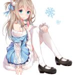 1girl bangs bare_shoulders black_footwear blue_bow blue_dress blue_eyes blush bow closed_mouth commentary_request dress eyebrows_visible_through_hair fur-trimmed_dress fur_trim girls_frontline hair_between_eyes hair_bow light_brown_hair long_hair long_sleeves looking_at_viewer mary_janes nahaki off-shoulder_dress off_shoulder one_side_up pom_pom_(clothes) shoes simple_background smile snowflakes solo suomi_kp31_(girls_frontline) thigh-highs very_long_hair white_background white_legwear