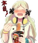 1girl bangle black_bow blue_scrunchie blush bow bracelet chopsticks closed_eyes facing_viewer food green_hair hair_bow handa_roko headphones headphones_around_neck highres holding holding_chopsticks hot idolmaster idolmaster_million_live! jewelry long_hair long_sleeves noodles nose_blush open_mouth owafu polka_dot polka_dot_bow polka_dot_scrunchie ramen sailor_collar scrunchie shirt simple_background sleeves_pushed_up solo spicy sweat sweating translation_request very_long_hair white_background white_sailor_collar white_shirt wrist_scrunchie