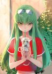 1girl blush c.c. code_geass commentary_request creayus drinking drinking_straw eyewear_on_head green_hair holding long_hair looking_down looking_to_the_side midriff red_shirt shirt solo sweat yellow_eyes