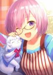 1girl :3 ;d ^_^ absurdres apron bangs black-framed_eyewear blue_shirt closed_eyes curtains day eyebrows_visible_through_hair fate/grand_order fate_(series) fou_(fate/grand_order) glasses hair_over_one_eye haru_(hiyori-kohal) highres huge_filesize indoors long_sleeves looking_at_viewer mash_kyrielight one_eye_closed open_mouth petting scan shirt short_hair smile solo upper_body window