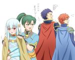 2boys 2girls amezuku angry aqua_detached_sleeves aqua_dress armor black_eyes black_gloves blue_cape blue_eyes blue_hair blush cape detached_sleeves dress eliwood eliwood_(fire_emblem) fingerless_gloves fire_emblem fire_emblem:_rekka_no_ken gloves green_eyes green_hair hair_ornament hector hector_(fire_emblem) high_ponytail light_blue_hair long_hair long_sleeves looking_at_another looking_back lyndis_(fire_emblem) mamkute multiple_boys multiple_girls ninian nintendo open_mouth ponytail red_cape red_eyes redhead serious short_hair short_sleeves sleeveless sleeveless_dress smile tomboy translation_request wet wet_clothes wet_dress