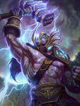 1boy abs blonde_hair blue_eyes clouds cloudy_sky electricity fur_trim gloves glowing glowing_eyes hammer helmet jon_neimeister long_hair male_focus mask nipples official_art open_mouth shirtless sky smite solo teeth thor_(smite)
