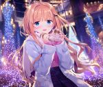 1girl :d black_bow black_skirt blue_eyes blush bow can canned_coffee coat fringe hair_bow hands_up heart high-waist_skirt highres holding holding_can kimishima_ao lamppost light_brown_hair lights long_hair long_sleeves looking_at_viewer night open_clothes open_coat open_mouth original outdoors pink_sweater plaid plaid_skirt pleated_skirt purple_coat saijo_melia scarf skirt sleeves_past_wrists smile solo sweater very_long_hair white_scarf window