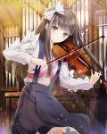 1girl absurdres black_skirt bow brown_eyes brown_hair cowboy_shot floating_hair hair_bow highres holding holding_instrument instrument long_hair looking_at_viewer music organ playing_instrument pleated_skirt school_fanfare shirt skirt smile solo standing suspender_skirt suspenders very_long_hair violin white_bow white_shirt