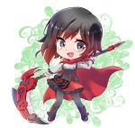 1girl alternate_costume black_hair cape chibi crescent_rose frilled_skirt frills highlights iesupa multicolored_hair redhead ruby_rose rwby rwby_chibi scythe skirt solo