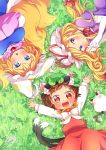 3girls :3 :d animal_ears arm_above_head blonde_hair blue_eyes blush bow brown_hair cat_ears cat_tail chen chen_(cat) chestnut_mouth clover cowboy_shot dress elbow_gloves fangs fingers_together fox_tail from_above gloves grass hair_ribbon hands_in_sleeves hat hat_ribbon hat_with_ears high_collar highres ibaraki_natou long_hair long_sleeves looking_at_viewer lying mob_cap multiple_girls multiple_tails neck_ribbon on_back on_grass on_ground on_side open_mouth puffy_short_sleeves puffy_sleeves purple_dress red_eyes red_ribbon red_skirt red_vest ribbon shirt short_hair short_sleeves signature skirt smile tabard tail tassel teeth touhou tress_ribbon vest white_bow white_gloves white_shirt yakumo_ran yakumo_yukari