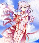 1girl ahoge alicorn animal azur_lane black_ribbon blue_sky blush box bun_cover china_dress chinese_clothes closed_mouth clouds commentary_request day double_bun dress fisheye flying highres holding holding_box horns mutang ocean outdoors pelvic_curtain purple_hair ribbon short_sleeves side_bun sky solo standing standing_on_one_leg stuffed_animal stuffed_pegasus stuffed_toy stuffed_unicorn sun sunlight thigh-highs unicorn_(azur_lane) violet_eyes water white_dress white_legwear