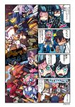 2boys 2girls 4koma argentea_(darling_in_the_franxx) artist_name blue_eyes bodysuit bracer_phoenix chlorophytum comic copyright_name darling_in_the_franxx delphinium_(darling_in_the_franxx) genista_(darling_in_the_franxx) gipsy_avenger gorou_(darling_in_the_franxx) grin guardian_bravo highres hiro_(darling_in_the_franxx) ichigo_(darling_in_the_franxx) mato_(mozu_hayanie) mecha multiple_boys multiple_girls pacific_rim:_uprising pilot_suit plaid polearm saber_athena school_uniform smile strelizia translation_request violet_eyes weapon zero_two_(darling_in_the_franxx)