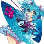 1girl :o album_cover aqua_eyes bangs bare_shoulders blue blue_hair blue_kimono cover cowboy_shot detached_sleeves eyelashes fish fishbowl frilled_kimono frills hair_between_eyes hair_ornament instrument itsumo_nokoru japanese_clothes kimono legs_together long_sleeves obi original pink_ribbon ribbon sash short_hair short_kimono simple_background sleeveless sleeveless_kimono solo standing taiko_drum two_side_up white_background wide_sleeves