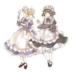 2girls apron black_neckwear blonde_hair bow brown_hair dress hat maid_headdress maribel_hearn mary_janes mixing_bowl mob_cap multiple_girls onigiri_(ginseitou) purple_dress red_neckwear shoes short_hair touhou tray usami_renko whip white_background