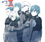5boys darling_in_the_franxx eyebrows_visible_through_hair futoshi_(darling_in_the_franxx) glasses gloves gorou_(darling_in_the_franxx) hand_holding hiro_(darling_in_the_franxx) long_sleeves male_focus mitsuru_(darling_in_the_franxx) monochrome multiple_boys pilot_suit pink_x translation_request zorome_(darling_in_the_franxx)