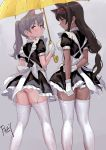 2girls animal_ears apron arms_behind_back artist_name ass black_dress blush brown_hair cat_ears chinese_commentary commentary_request dress feet_out_of_frame female fkey from_behind garter_straps gloves grey_background hairband highres holding holding_umbrella long_hair looking_back low-tied_long_hair maid maid_apron multiple_girls original panties panty_peek petticoat ponytail profile puffy_short_sleeves puffy_sleeves red_eyes red_hairband short_dress short_sleeves signature silver_hair skindentation standing thigh-highs thighs umbrella underwear white_apron white_gloves white_panties yellow_umbrella