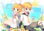 1boy 1girl :d bangs black_sailor_collar black_shorts blonde_hair blue_eyes bow bowtie brother_and_sister commentary_request detached_sleeves eyebrows_visible_through_hair hair_between_eyes hair_ornament hair_ribbon hairclip headphones ikari_(aor3507) kagamine_len kagamine_len_(vocaloid4) kagamine_rin kagamine_rin_(vocaloid4) leg_warmers long_sleeves looking_at_viewer necktie open_mouth orange_neckwear puzzle_piece ribbon sailor_collar school_uniform serafuku shirt short_hair short_shorts short_sleeves shorts siblings sitting sleeveless sleeveless_shirt smile twins v v4x vocaloid white_ribbon white_shirt white_shorts