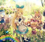 3girls :3 :d ^_^ animal animal_hat animal_on_head bendy_straw bird bird_on_head black_footwear blonde_hair blue_flower blue_hair blue_hat blue_ribbon blue_rose blue_skirt blue_sky blush bow brown_eyes cake carrot cat_hat chair chibi closed_eyes collared_shirt commentary cup day drink drinking_glass drinking_straw fang flower food fork fruit gloves hair_ribbon hairband hand_on_own_face harmonica hat highres holding holding_cup holding_fork holding_instrument instrument leaf light_brown_hair long_hair long_sleeves mary_janes multiple_girls music on_chair on_head open_mouth original outdoors pantyhose pink_flower pink_rose plaid playing_instrument pleated_skirt pudding rabbit rainbow red_bow red_flower red_rose ribbon rose sakura_oriko shirt shoes short_hair short_sleeves sitting skirt sky smile socks star strawberry strawberry_shortcake sunlight table teacup very_long_hair white_gloves white_hairband white_legwear white_shirt yellow_flower yellow_rose