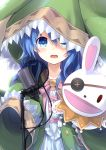 1girl :o absurdres animal_hood blue_eyes blue_hair blush bunny_hood coat commentary_request date_a_live dress green_coat hair_between_eyes highres hood hood_up long_hair looking_at_viewer microphone open_clothes open_coat solo very_long_sleeves white_dress wide_sleeves yoshino_(date_a_live) yoshinon