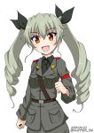 1girl :d anchovy anzio_military_uniform bangs belt black_belt black_neckwear black_ribbon black_shirt dated dress_shirt drill_hair eyebrows_visible_through_hair flipper girls_und_panzer grey_jacket grey_pants hair_ribbon jacket long_hair long_sleeves looking_at_viewer military military_uniform necktie open_mouth pants red_eyes ribbon sam_browne_belt shirt simple_background smile solo standing twin_drills twintails twitter_username uniform upper_body white_background wing_collar