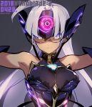 1girl blue_eyes breasts cyborg dark_skin fujimoto_hideaki glasses gloves large_breasts long_hair smile solo t-elos xenoblade xenoblade_(series) xenoblade_2 xenosaga xenosaga_episode_iii
