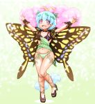 1girl :d \o/ antennae arms_up bikini black_bikini_top black_footwear blue_hair blush_stickers brown_eyes butterfly_wings collarbone commentary eternity_larva full_body green_bikini_bottom high_heels leaf leaf_on_head looking_at_viewer navel open_mouth outstretched_arms shirosato short_hair smile solo standing standing_on_one_leg swimsuit touhou wings wrist_cuffs