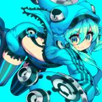 1girl album_cover ass bangs black_legwear blue blue_background blue_eyes blue_hair blue_hat blue_jacket blue_shorts closed_mouth cover eyebrows eyebrows_visible_through_hair eyelashes hair_between_eyes hat headphones itsumo_nokoru jacket legs_apart long_hair long_sleeves looking_at_viewer multicolored multicolored_eyes open_clothes open_jacket original puffy_shorts shorts simple_background smile solo striped striped_legwear suspenders thigh-highs unzipped v-shaped_eyebrows vertical-striped_legwear vertical_stripes yellow_eyes zettai_ryouiki