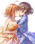 2girls ahoge arm_hug bangs blue_eyes blue_jacket blue_neckwear blue_suit bow bowtie closed_eyes collarbone commentary_request dress flower formal grey_hair highres jacket jewelry kiss long_sleeves love_live! love_live!_sunshine!! multiple_girls orange_dress orange_hair ring short_hair signature simple_background strapless strapless_dress suit takami_chika takenoko_no_you watanabe_you wedding_band white_background white_flower yuri