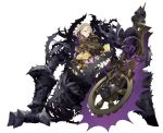 1girl blonde_hair braid briar_rose_(sinoalice) dress frills full_body giant_hand half-closed_eyes holding_object jino looking_at_viewer official_art one_eye_closed sinoalice sleepy solo thorns white_background yellow_eyes