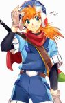 1boy belt blue_eyes closed_mouth fingerless_gloves gloves goggles grandia grandia_i highres justin_(grandia) long_hair looking_to_the_side male_focus multiple_sleeves orange_hair red_scarf scarf simple_background solo