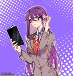 1girl artist_name bespectacled black-framed_eyewear book closed_mouth commentary doki_doki_literature_club english_commentary expressionless glasses hair_between_eyes hair_tucking holding holding_book long_hair looking_away outline purple_background purple_hair rectangular_eyewear savi_(byakushimc) school_uniform simple_background solo upper_body very_long_hair violet_eyes white_outline yuri_(doki_doki_literature_club)