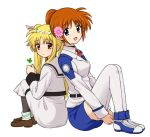 2girls :d blonde_hair blush brown_hair clover expressionless eyebrows_visible_through_hair fate_testarossa flower flower_wreath four-leaf_clover hair_flower hair_ornament kannari knees_to_chest loafers long_hair looking_at_viewer lyrical_nanoha mahou_shoujo_lyrical_nanoha mahou_shoujo_lyrical_nanoha_a's mahou_shoujo_lyrical_nanoha_strikers multiple_girls open_mouth red_eyes school_uniform shoes smile takamachi_nanoha thigh-highs thighs very_long_hair violet_eyes white_legwear