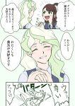 2girls blonde_hair blush brown_hair closed_eyes commentary diana_cavendish fainting hand_holding happy_birthday kagari_atsuko little_witch_academia mitsuko_(4afe6300) multiple_girls smile speech_bubble translation_request