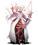 1girl arrow bow_(weapon) burning_eye dark_persona dress empty_eyes energy_arrow flower full_body half-nightmare holding holding_weapon jino long_hair multicolored multicolored_skin navel navel_cutout official_art pale_skin red_eyes red_skin rose serious sinoalice snow_white_(sinoalice) solo thorns transparent_background weapon white_eyes white_hair