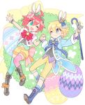 1boy 1girl ahoge alpha_omega_nova aqua_eyes blue_eyes bright_pupils couple crown easter_egg egg full_body goggles goggles_on_head hand_holding highres looking_at_another luluco mini_crown mt.somo pants redhead short_hair shorts trigger-chan trigger_(company) uchuu_patrol_luluco yellow_pants