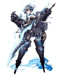 1girl alice_(sinoalice) bare_shoulders blue_fire blue_hair dark_persona expressionless fire frilled_skirt frills full_body glowing glowing_eyes hair_ornament half-nightmare holding holding_weapon jino large_hands looking_at_viewer no_feet official_art one_eye_covered pale_skin polearm red_eyes short_hair sinoalice skirt solo transparent_background weapon