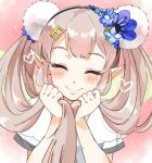 1girl blush closed_eyes closed_mouth commentary elf elu_(nijisanji) fairy_wings flower hair_flower hair_ornament hairclip holding holding_hair long_hair nijisanji pointy_ears pom_pom_(clothes) see-through short_sleeves smile twintails uminekoritorubasuta-zu virtual_youtuber wings