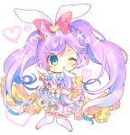 1girl animal_ears bangs blush bow chibi commentary_request copyright_request doll eyebrows_visible_through_hair eyes_visible_through_hair frills green_eyes hair_bow heart knees_together_feet_apart leg_garter long_hair looking_at_viewer nekotorina one_eye_closed parted_lips pink_footwear purple_hair rabbit_ears red_bow shoes smile solo thigh-highs twintails very_long_hair white_legwear