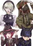 2boys 2girls bandage black_gloves black_hairband black_hat black_jacket blue_eyes blush brown_sweater danganronpa dress_shirt gloves green_eyes green_hat green_jacket grey_shirt hair_over_one_eye hairband hands_on_headwear hat head_tilt hoshi_ryouma inzup jacket looking_at_viewer looking_away maid mask mouth_hold multiple_boys multiple_girls necktie new_danganronpa_v3 open_clothes open_jacket open_mouth purple_neckwear redhead school_uniform shinguuji_korekiyo shirt short_hair silver_hair sweater toujou_kirumi white_background witch_hat yumeno_himiko