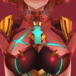 1girl armor breasts close-up head_out_of_frame highres homura_(xenoblade_2) large_breasts portrait red_background redhead short_hair simple_background smile upper_body xenoblade_(series) xenoblade_2