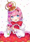 1girl :d bangs blue_eyes blush bow commentary_request crown earrings eyebrows_visible_through_hair hair_between_eyes hair_ornament hairband head_tilt heart heart_earrings heart_hair_ornament highres holding holding_heart jewelry long_sleeves looking_at_viewer mini_crown open_mouth original pink_hair puffy_long_sleeves puffy_short_sleeves puffy_sleeves red_bow red_hairband red_vest shirt short_over_long_sleeves short_sleeves smile solo suzuki_moeko upper_teeth vest white_background white_shirt