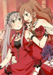 2girls :d armlet bang_dream! black_hairband blue_flower blue_rose blush bracelet brooch brown_eyes brown_hair dress earrings flat_color flower grey_eyes hair_flower hair_ornament hairband hand_holding hand_on_another's_waist imai_lisa jewelry lace lace-trimmed_hairband lace_hairband long_hair looking_at_another minato_yukina multiple_girls murata_(igaratara) necklace one_side_up open_mouth red_dress red_flower red_rose rose silver_hair smile strapless strapless_dress veil yuri