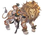 1girl animal bangs boots braid breasts carmelina_(granblue_fantasy) claws detached_sleeves draph epaulettes garter_straps gloves granblue_fantasy hair_ornament hat high_heel_boots high_heels holding holding_weapon horns large_breasts lion long_hair long_sleeves looking_at_viewer minaba_hideo miniskirt one_leg_raised open_mouth skirt smile tail thigh-highs thigh_boots under_boob very_long_hair weapon whip white_gloves