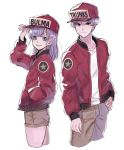 1boy 1girl :d arm_up baseball_cap blue_eyes bulma character_name commentary_request dragon_ball dragonball_z eyebrows_visible_through_hair fingernails frown hand_in_pocket happy hat height_difference highres image_sample jacket long_sleeves looking_at_viewer mother_and_son open_mouth purple_hair red_jacket shirt short_hair shorts simple_background smile standing trunks_(dragon_ball) twitter_sample upper_body white_background white_shirt