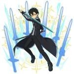 1boy black_cape black_eyes black_footwear black_gloves black_hair black_pants boots cape dual_wielding fingerless_gloves gloves hair_between_eyes holding holding_sword holding_weapon kirito_(sao-alo) looking_at_viewer male_focus pants pointy_ears solo sword sword_art_online weapon
