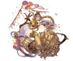 1girl animal ball bangs blonde_hair boots braid breasts carmelina_(granblue_fantasy) claws confetti detached_sleeves draph epaulettes full_body gloves granblue_fantasy green_eyes hair_ornament hat high_heel_boots high_heels horns large_breasts lion long_hair long_sleeves looking_at_viewer minaba_hideo open_mouth pointy_ears sidelocks smile tail trapeze under_boob very_long_hair