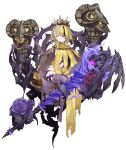 1girl blonde_hair braid briar_rose_(sinoalice) crown dark_persona empty_eyes expressionless flower full_body half-nightmare jino messy_hair multicolored multicolored_skin official_art one_eye_covered pale_skin purple_skin sinoalice sitting solo thorns transparent_background yellow_eyes