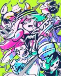 1girl 3boys band_name baseball_cap black_hair bob_cut crab cren_shello drooling drumsticks fish glenna_nalira green_background guitar hat ikapnmn2 instrument joe_booster keini_labiri long_hair multiple_boys shoes simple_background sneakers solid_oval_eyes splatoon splatoon_1 wall-eyed