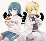 2girls anzu_(hinamatsuri) aqua_eyes aqua_hair aqua_shorts beige_background belt black_shirt blonde_hair bousouzoku bowl captain_yue chopsticks clothes_writing coat commentary copyright_name food food_on_face gym_shorts hair_ribbon hina_(hinamatsuri) hinamatsuri_(manga) holding holding_bowl ikura_(food) multiple_girls noodles open_clothes open_coat oversized_clothes pants ramen red_ribbon ribbon romaji shirt short_hair shorts side_ponytail signature simple_background sitting sweatshirt thick_eyebrows twitter_username white_coat white_pants white_shirt yellow_eyes