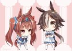 >:( 2girls animal_ears blush bow bowtie brown_eyes brown_hair chibi crossed_arms daiwa_scarlet fang hair_bow hair_intakes hair_over_one_eye hands_on_hips highres horse_ears horse_tail leaning_forward long_hair low_ponytail multicolored_hair multiple_girls pleated_skirt puffy_short_sleeves puffy_sleeves sailor_collar short_sleeves signature skirt soba_(sobaya1938) streaked_hair tail thigh-highs tiara twintails umamusume very_long_hair vodka_(umamusume) zettai_ryouiki