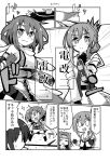 4girls alternate_costume black_gloves comic cosplay detached_sleeves elbow_gloves fingerless_gloves forehead_protector gin_(shioyude) girl gloves greyscale hachimaki hair_intakes half_updo headband highres holding holding_torpedo ikazuchi_(kantai_collection) inazuma_(kantai_collection) jintsuu_(kantai_collection) jintsuu_(kantai_collection)_(cosplay) kantai_collection long_hair monochrome multiple_girls remodel_(kantai_collection) scarf school_uniform screentones sendai_(kantai_collection) sendai_(kantai_collection)_(cosplay) serafuku torpedo white_scarf