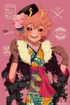 1girl :d ashido_mina black_sclera blush boku_no_hero_academia floral_print flower flower_on_head fur_trim gloves hair_ornament hat highres horns japanese_clothes kimono long_sleeves nanaminn open_mouth pink_background pink_hair pink_skin rose short_hair simple_background smile wide_sleeves yellow_eyes