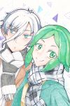 2others alternate_costume androgynous antarcticite blue_eyes coat colored_eyelashes contemporary eyebrows_visible_through_hair green_eyes green_hair highres houseki_no_kuni long_bangs looking_at_viewer multiple_others phosphophyllite scarf short_hair smile traditional_media upper_body white_hair winter_clothes