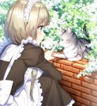 1girl animal apron blonde_hair blush breasts brick_wall brown_dress bush cat closed_mouth copyright_request day dress frilled_apron frilled_dress frills from_side green_eyes index_finger_raised juliet_sleeves long_sleeves maid maid_headdress masuishi_kinoto medium_breasts outdoors profile puffy_sleeves shiny shiny_hair short_hair smile solo squatting tareme whiskers white_apron